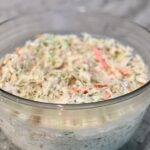 cole slaw in a clear bowl