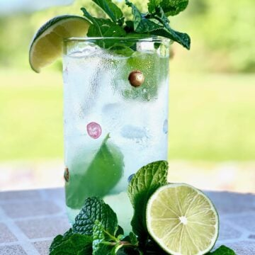 coconut lime mojito in a glass with lime