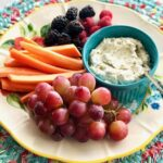pesto goat cheese with fruits and veggies
