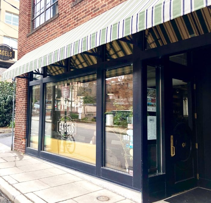 Button and Co. Bagel restaurant outside view through windows