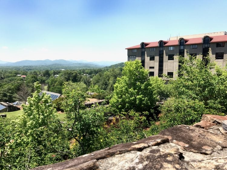 panoramic view of mountains from Grove Park Inn in Asheville