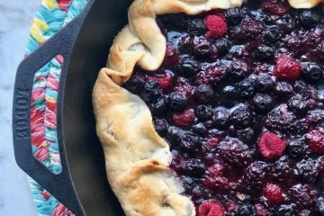 berry crostata in cast iron skillet