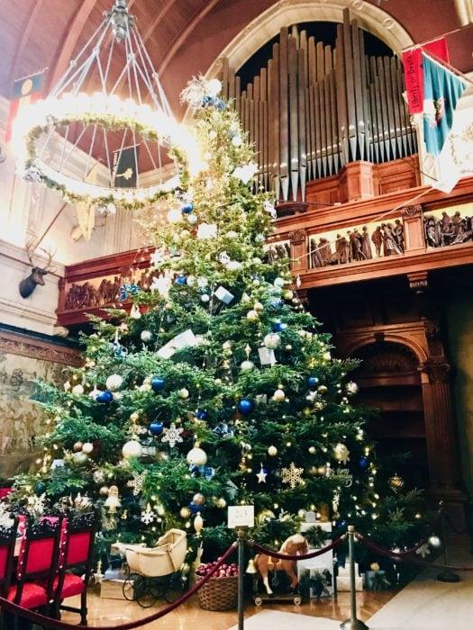 huge decorated Christmas tree at Biltmore Estate