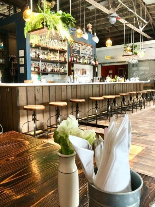 Buxton Hall BBQ restaurant bar with stools
