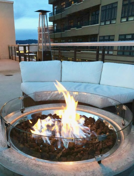 fire pit in front of couch at Hemingway's Cuba