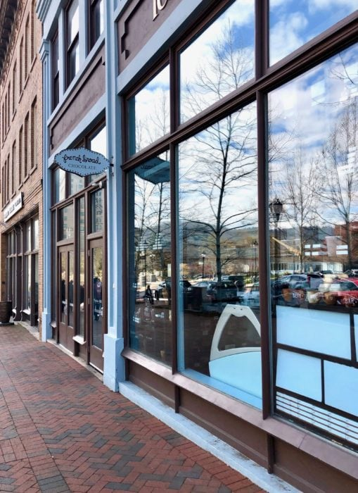 view of outside of French Broad Chocolate Lounge through windows