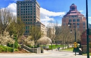 courthouse and city building at Pack Plaza in Asheville, NC