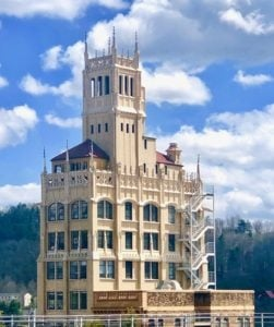 the Jackson Building against a blue sky in Asheville, NC