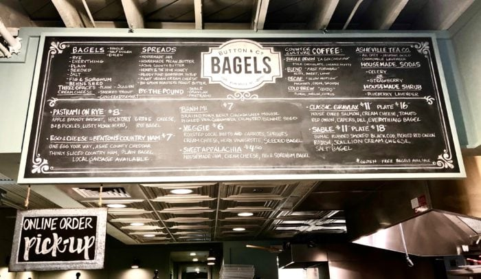 view of the menu board at Button Bagels