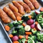 veggies and chicken on a sheet pan
