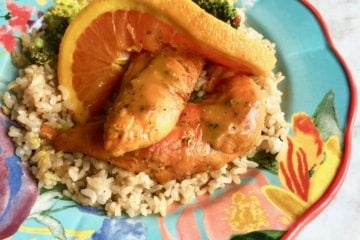 orange chicken with broccoli on rice