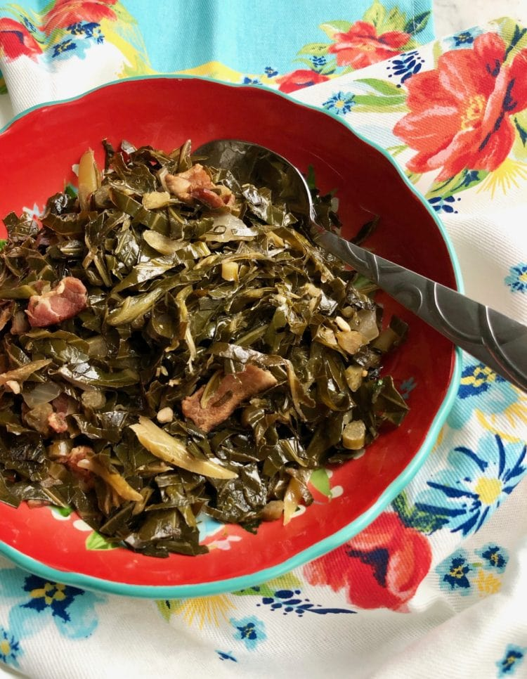 collard greens in a red bowl