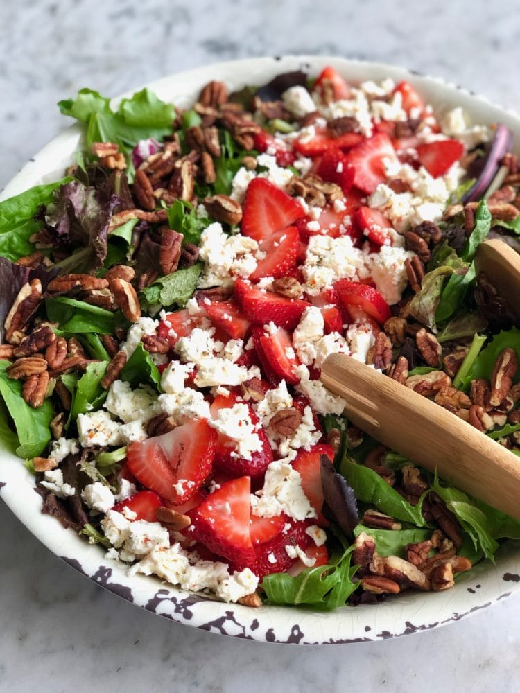 strawberry pecan salad with feta cheese