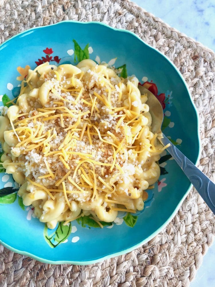 stovetop mac & cheese in a blue bowl