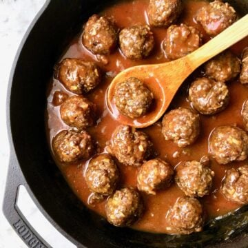 meatballs for appetizers in a skillet