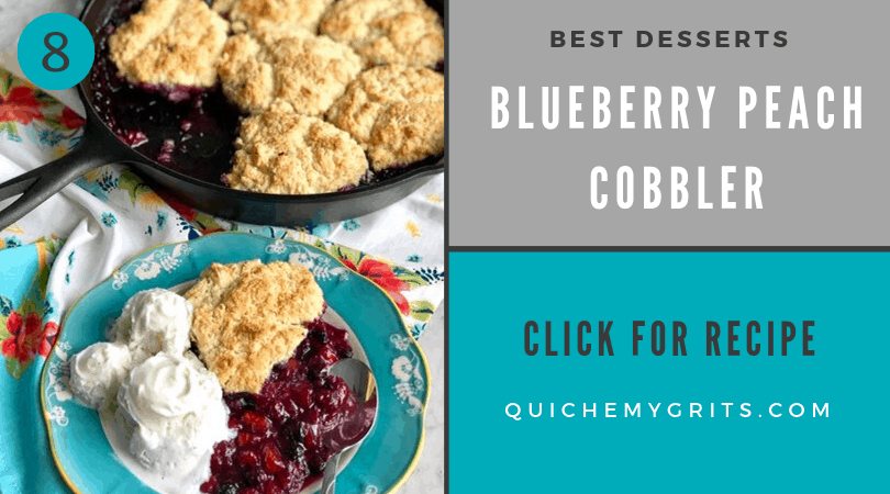 blueberry peach cobbler in a cast iron skillet