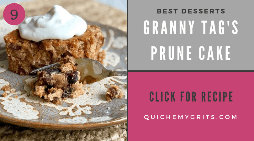 slice of prune cake with whipped cream on top on a floral plate