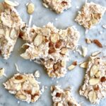 pumpkin spice coconut bark on marble slab