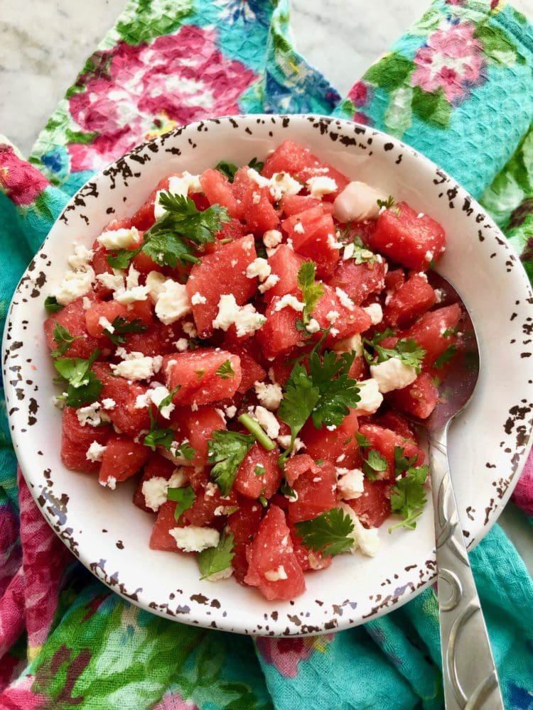 watermelon feta salad on a colorful napkin