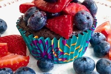 berry brownie cup on a white plate