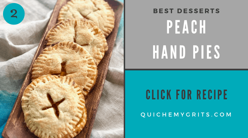peach hand pies in a flaky crust on a wooden serving dish