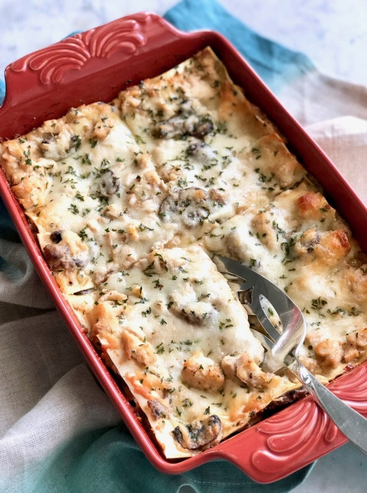 Portobello Chicken Lasagna in casserole dish