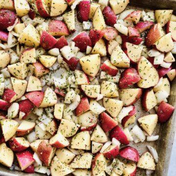 red skin potatoes on a sheet pan