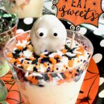 halloween ice cream cup ghost holding a sign saying Eat Sweets
