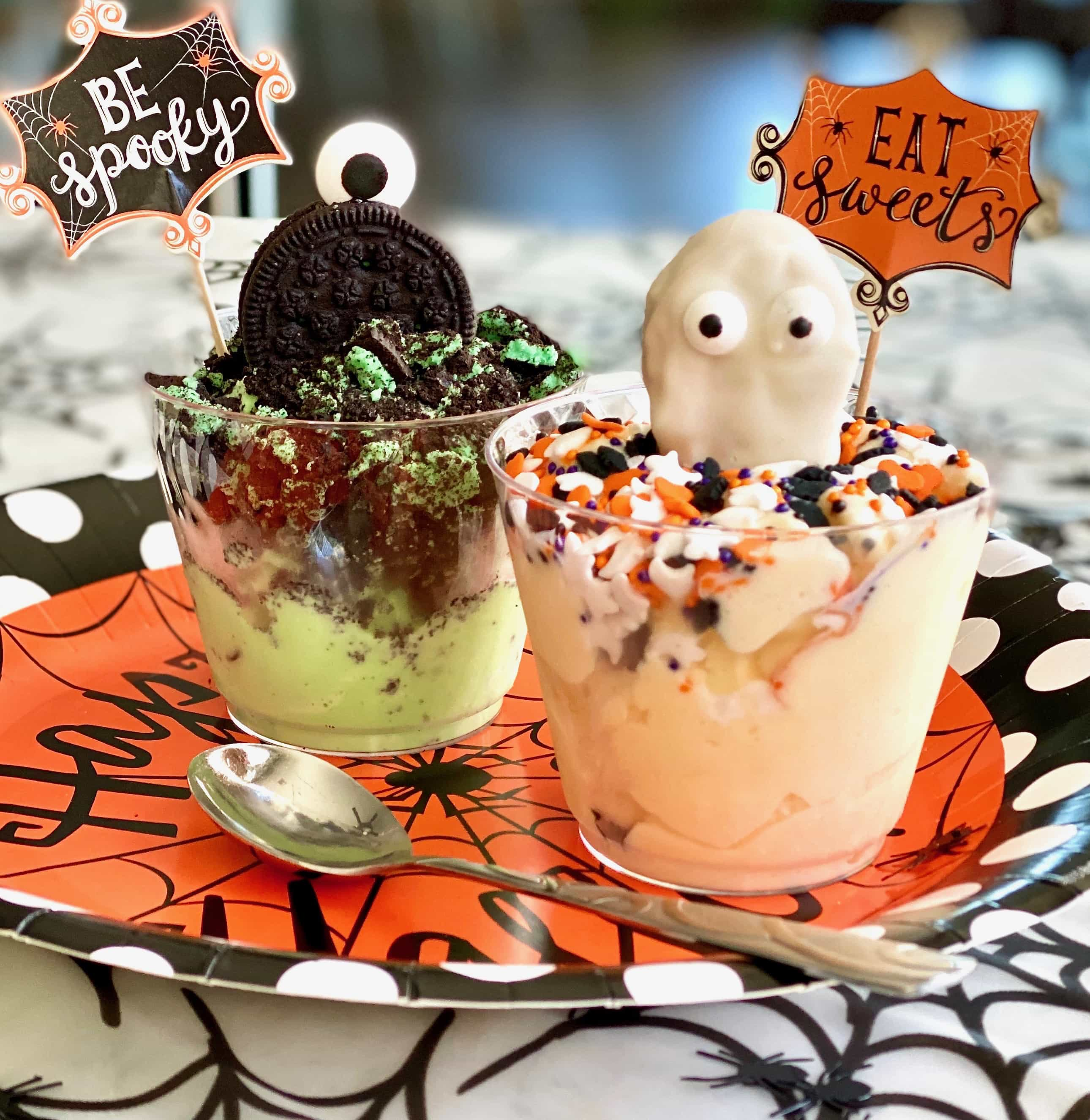 Halloween ice cream cup ghosts and monsters on top of ice cream in a cup