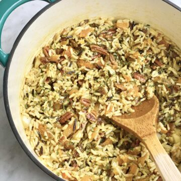 Wild Rice Salad in a blue dutch oven with spoon
