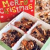 Chocolate Covered Cherry Bark in a gift box that says Merry Christmas