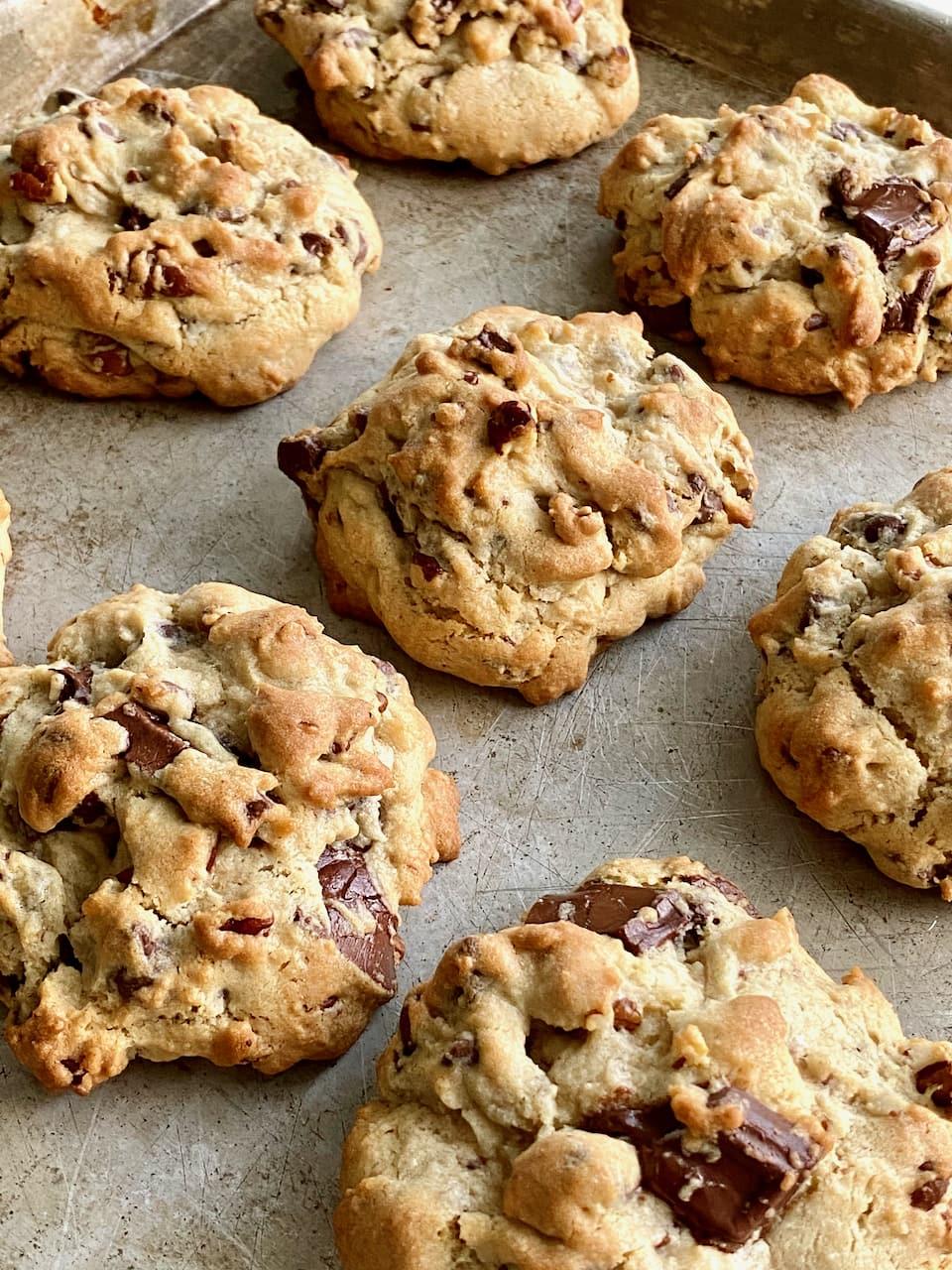Santa's Chocolate Chip Cookies on a sheet pan