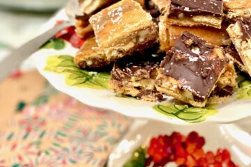 salted chocolate toffee bars on a cake dish