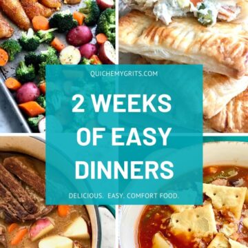 graphic image showing 2 weeks of easy dinners