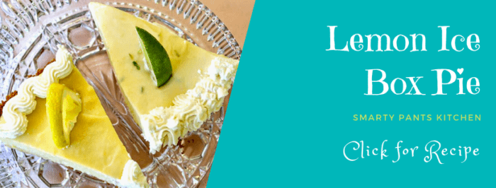 slices of lemon ice box pie with lime garnish on a glass dish