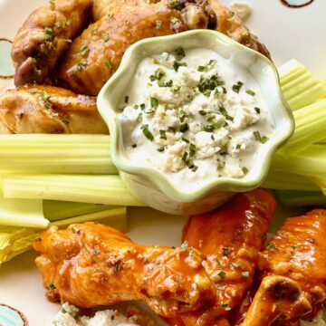 Fried Chicken Wings with blue cheese dressing on a plate