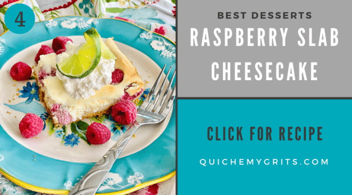slice of cheesecake with raspberries and lime on a blue floral plate