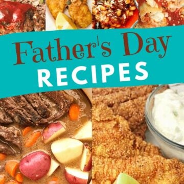 a collage of father's day favorite recipes