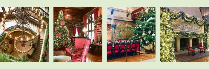 collage of photos of the interior of the Biltmore House at Christmas