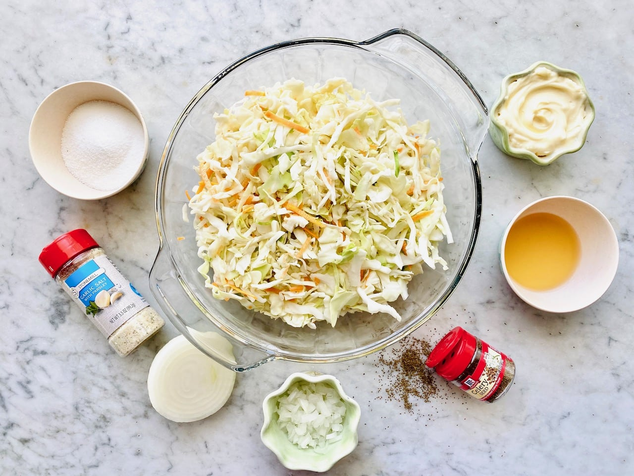 ingredients for creamy coleslaw