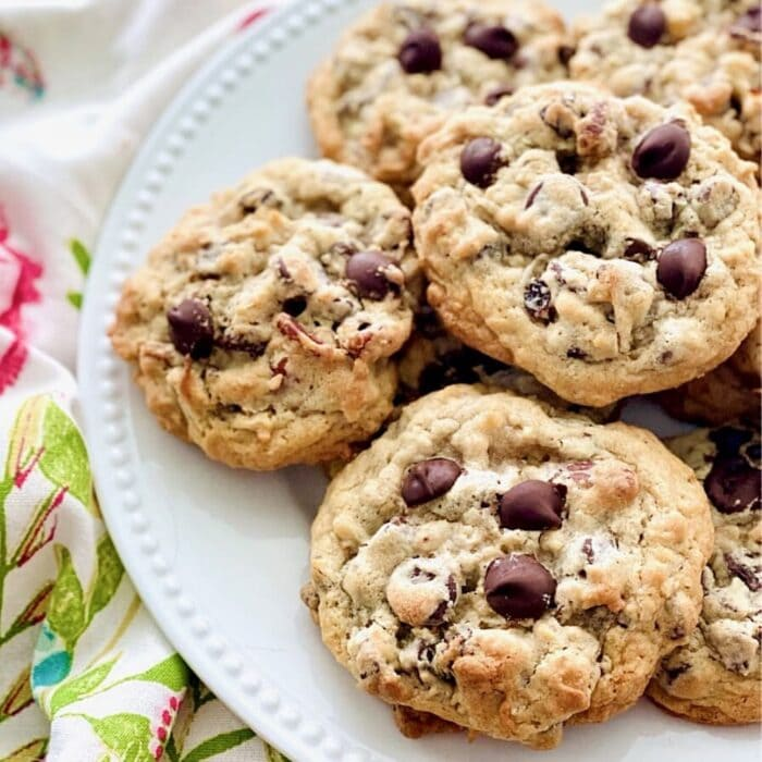 plate of Oatmeal Chocolate Chip Cookies.