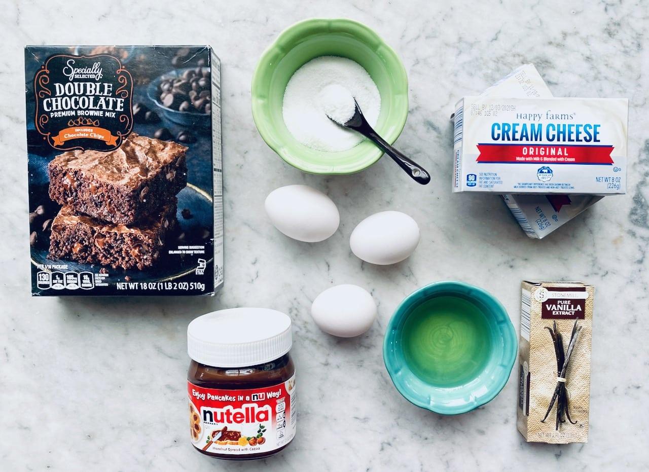 ingredients needed to make nutella cheesecake brownies