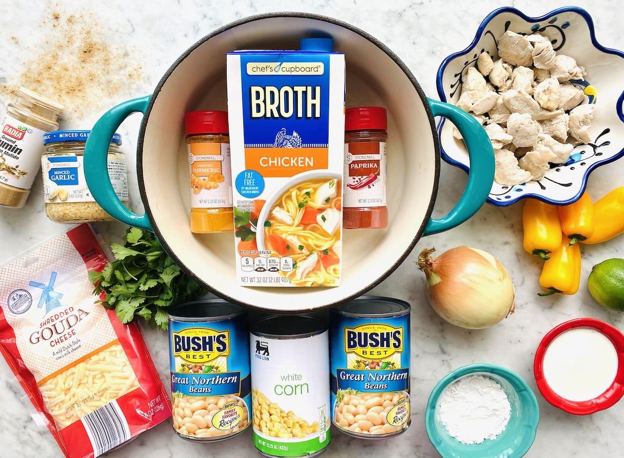 ingredients for white corn chicken chili