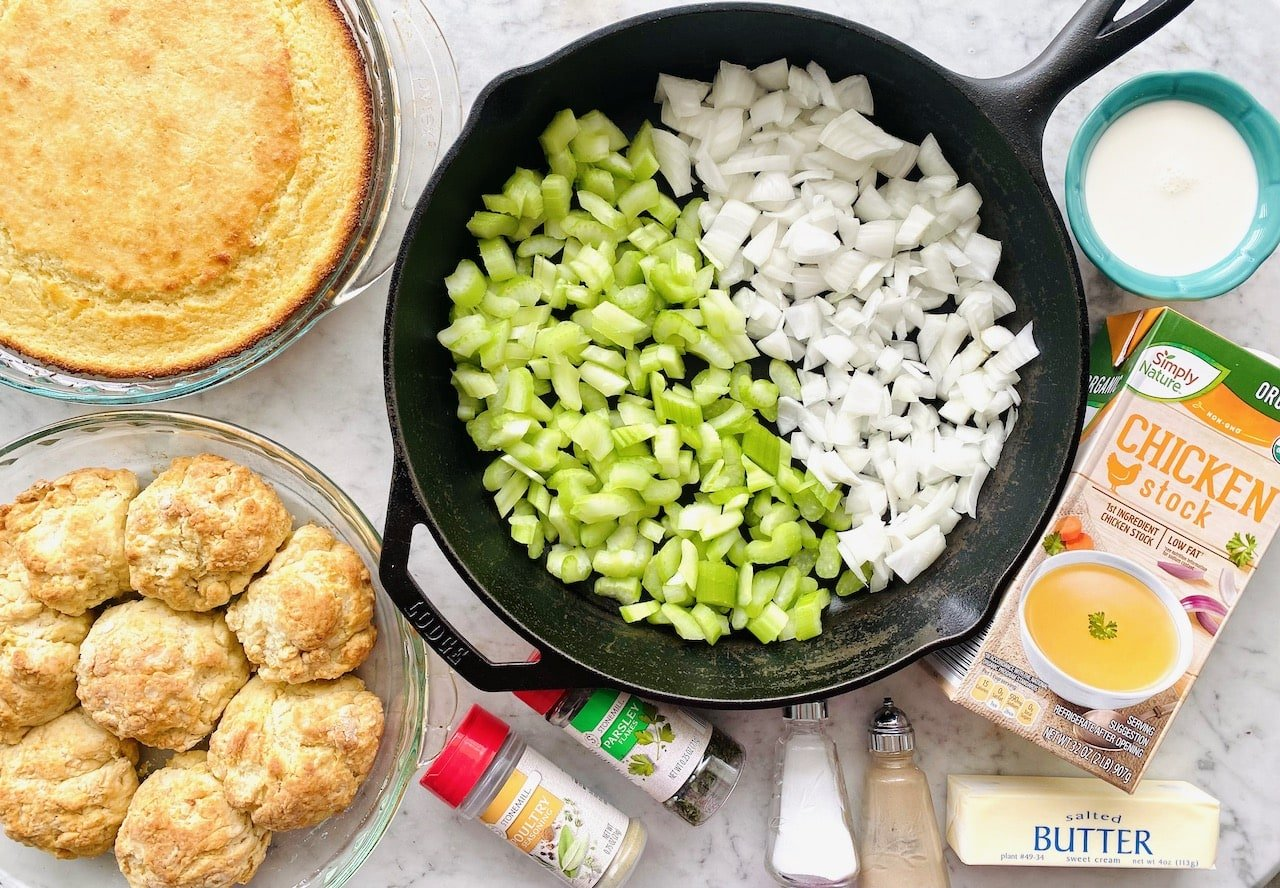 ingredients needed for southern cornbread biscuit dressing.