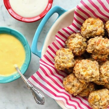 best sausage balls recipe with honey mustard and ranch dip
