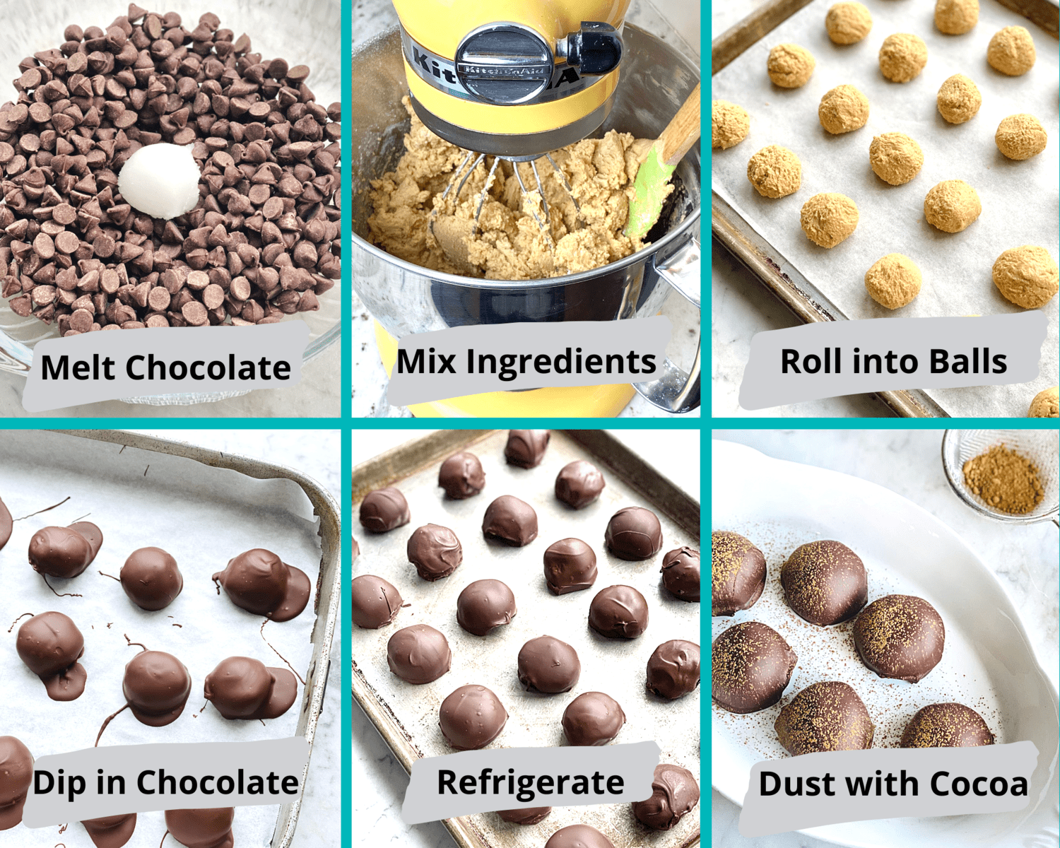 step by step instructions on how to make chocolate peanut butter balls.
