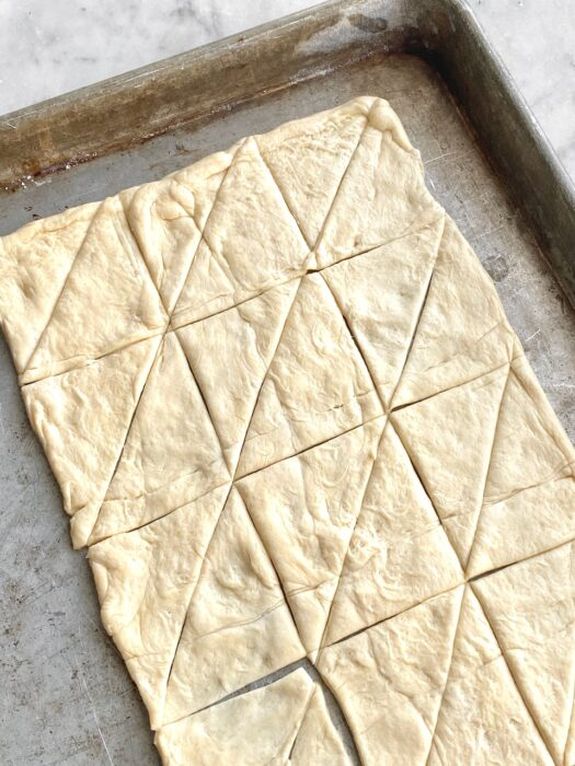 crescent roll pastry cut in triangles