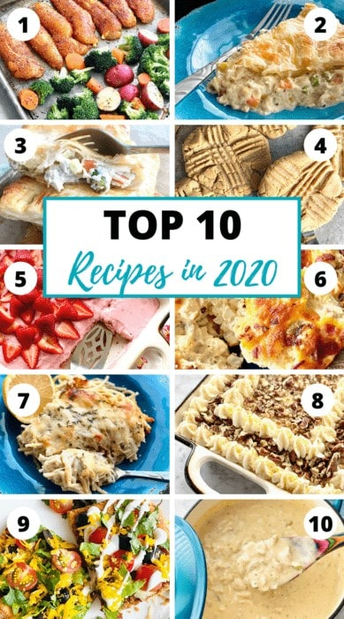 graphic showing the top 10 recipes in 2020 for Quiche My Grits