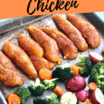chicken, broccoli, potatoes and carrots on a sheet pan.