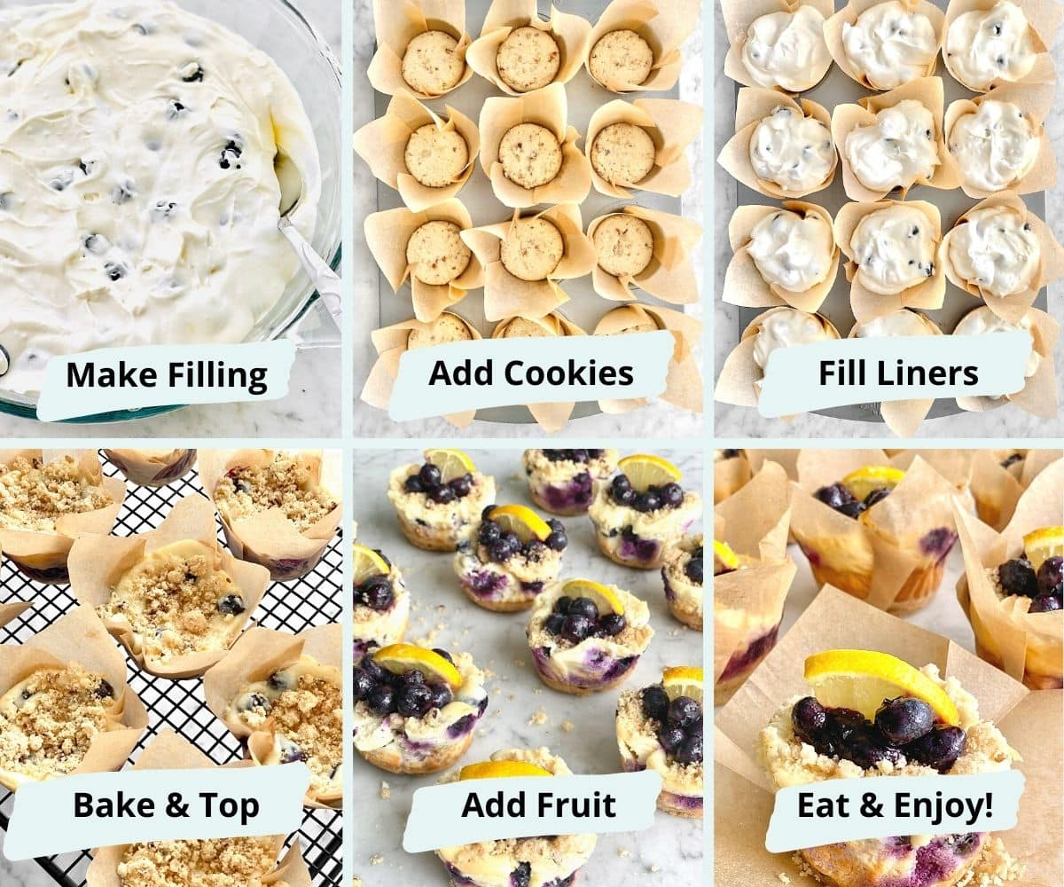 step by step instructions on how to make cheesecake cupcakes.